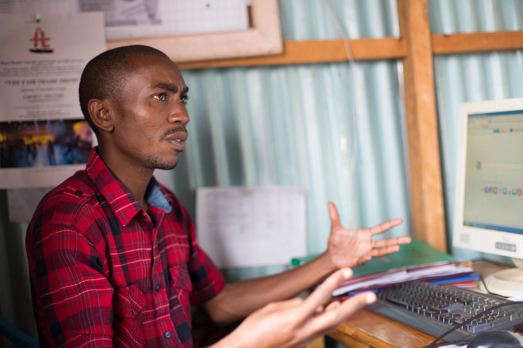 Director of The Ghetto Mirror, a self-published community newspaper in Kibera  Kibera, Nairobi, Kenya