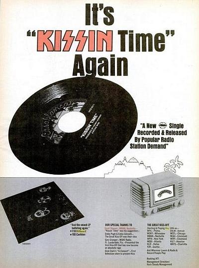 "Billboard ad promoting ""Kissin' Time"" single"