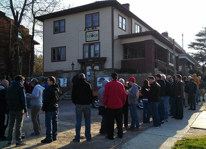 People waiting in line at Lost Weekend Records last year for Record Store Day...........