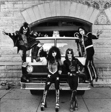 Kiss on a fire truck in front of Cadillac City Hall 1975