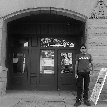Me in front of the same building which is now the Cadillac Visitors Bureau.