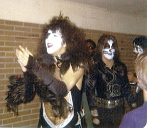 Another pic given to me by David Reiser of Kiss walking the halls of Cadillac High School.