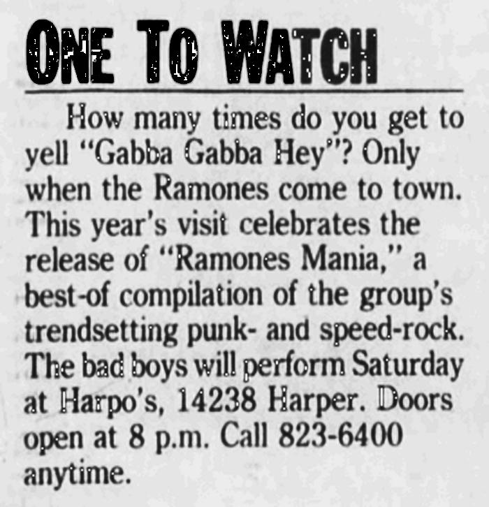 Ramones - Detroit 1988