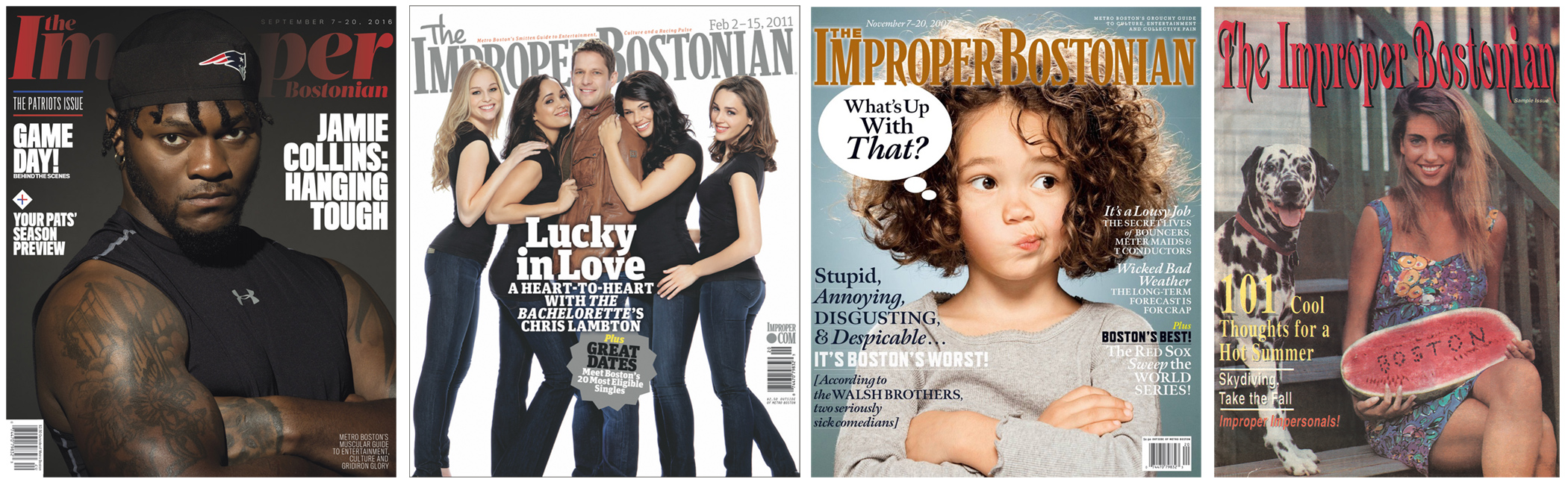 Improper Bostonian covers through the years. From left, 2017, 2011, 2007, and one from the inaugural year, 1992.