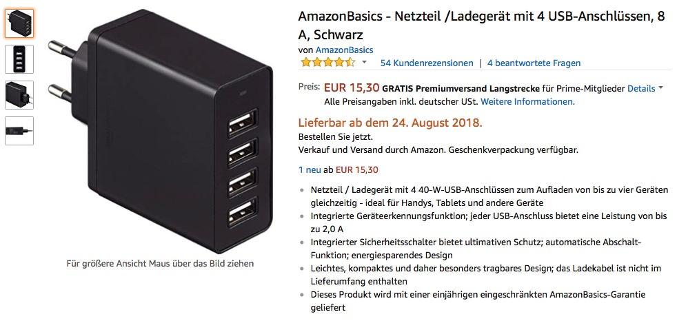 Das AmazonBasics Netzteil
