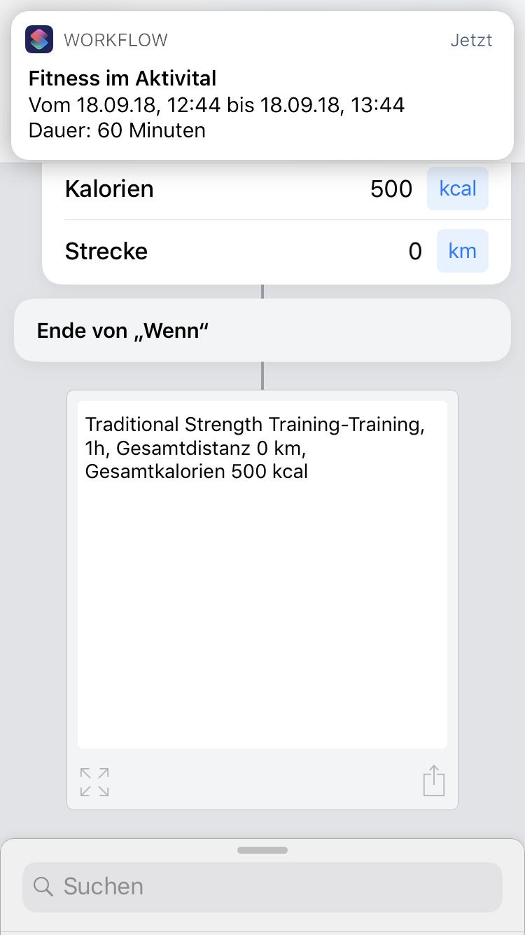 iOS 12 Shortcut - Sport in Kurzbefehle App