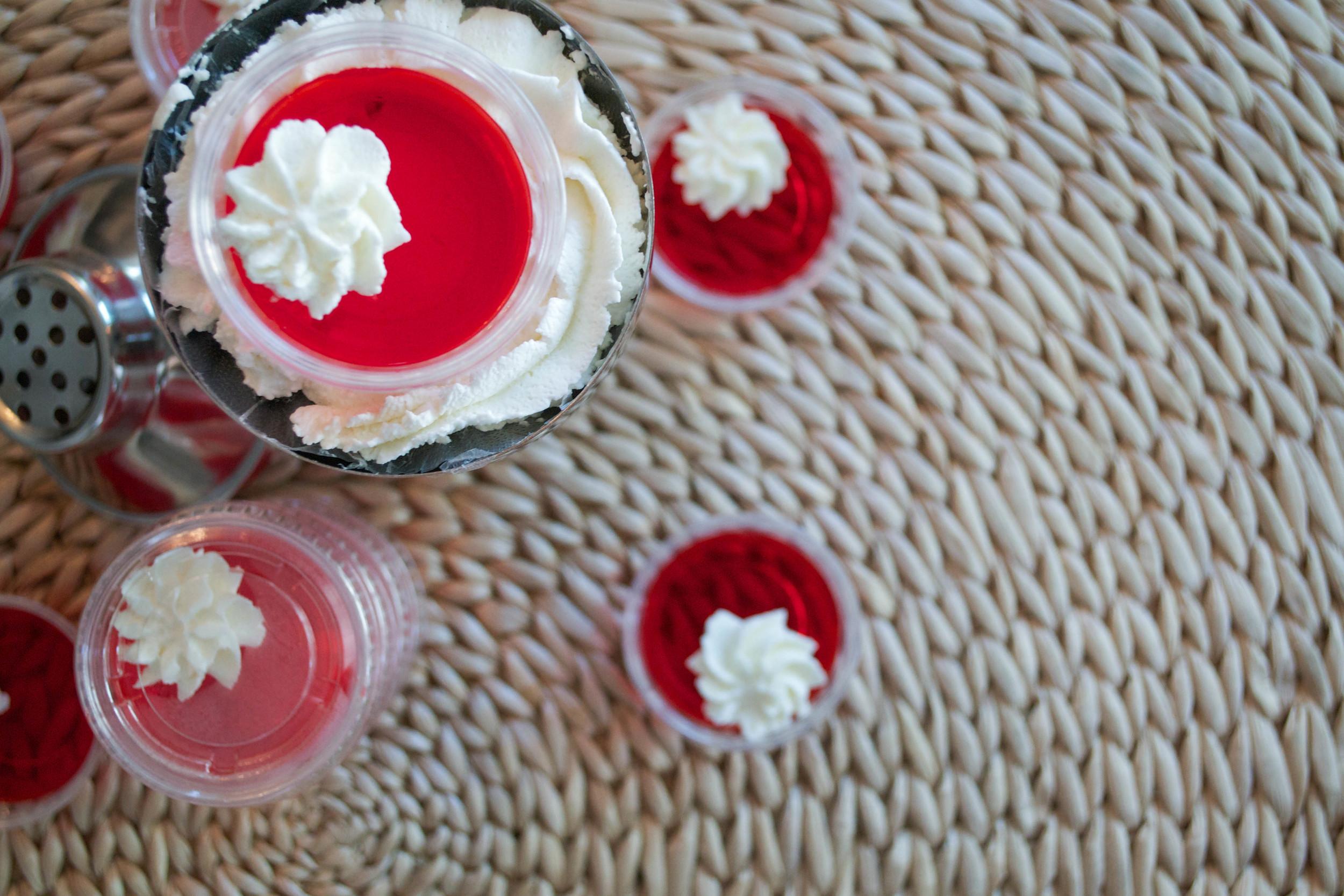 Strawberries + Cream Jell-O Shots 4