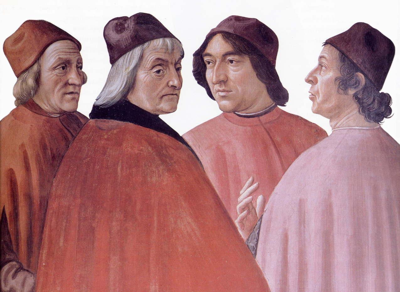"Portrait of Ficino (far left) in ""Zaccaria in the Temple,"" by Domenico Ghirlandaio, circa 1490"