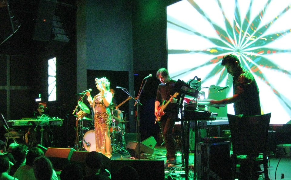 Electronic musician Len Del Rio (far right) on tour with Brainticket in 2011. Also pictured: singer Abby Travis and guitarist Andrew Scott.