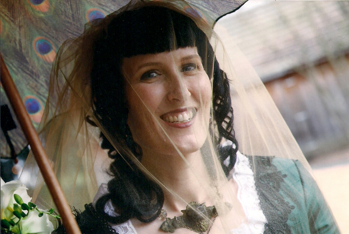 Me rocking my greene lyon necklace and gold veil on my wedding day on a rainy Spring Equinox ... how's that for some Plutonian authenticity? ;)
