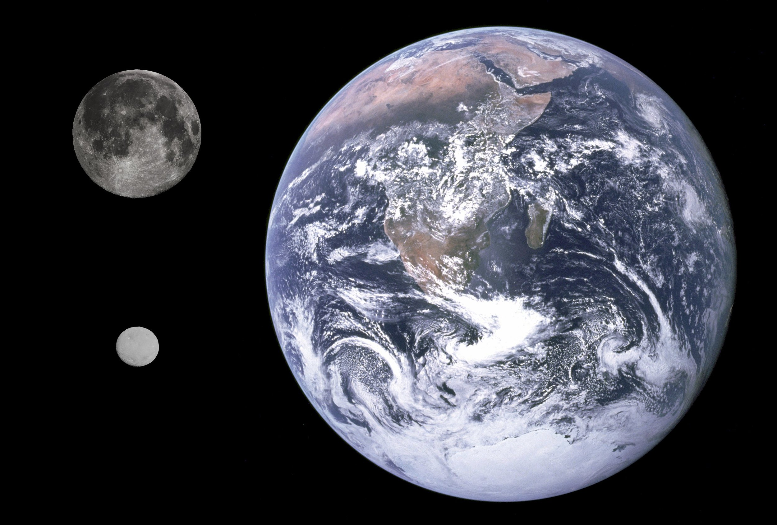 Image depicting the relative size of Ceres (bottom left) compared to Earth and Earth's Moon.