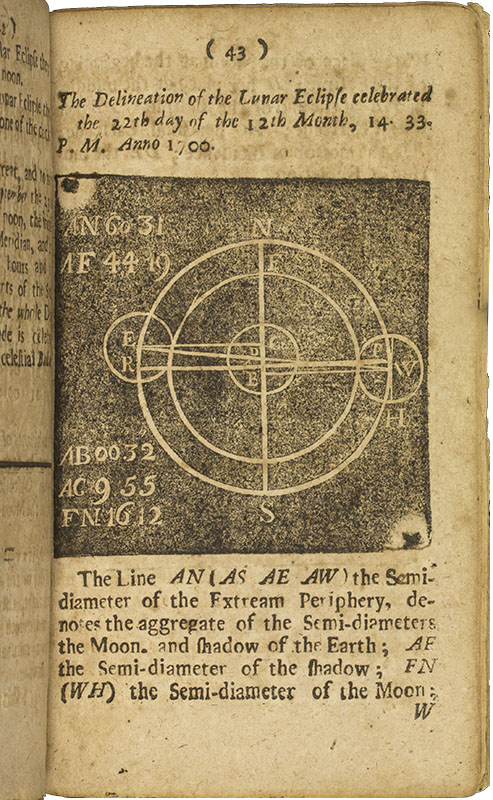 Image from astrologer Jacob Taylor's 1697 book  Tenebrae , the first mathematical treatise printed in English in the New World. Image courtesy of  The Library Company .