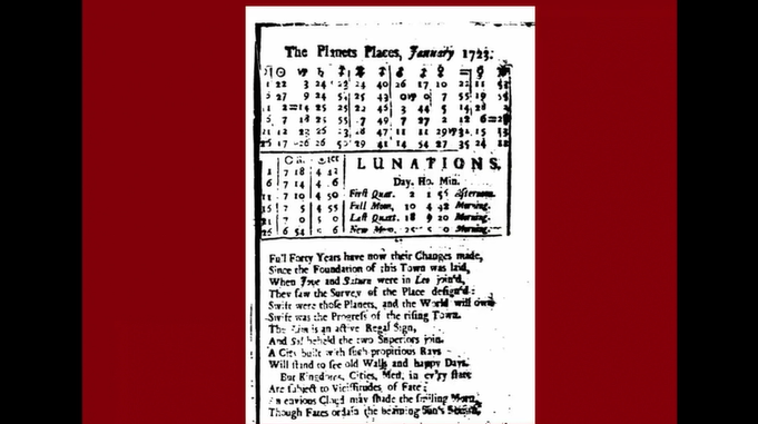 Still from my PowerPoint presentation, featuring a page from one of Taylor's almanacs. This page contains a poem he composed about the nativity (birth chart) of Philadelphia on the anniversary of its founding.