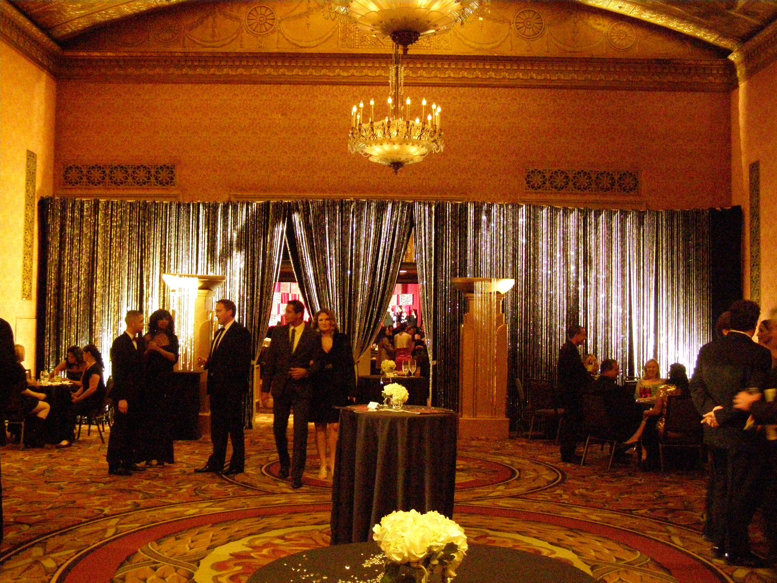crystal curtains on black velour