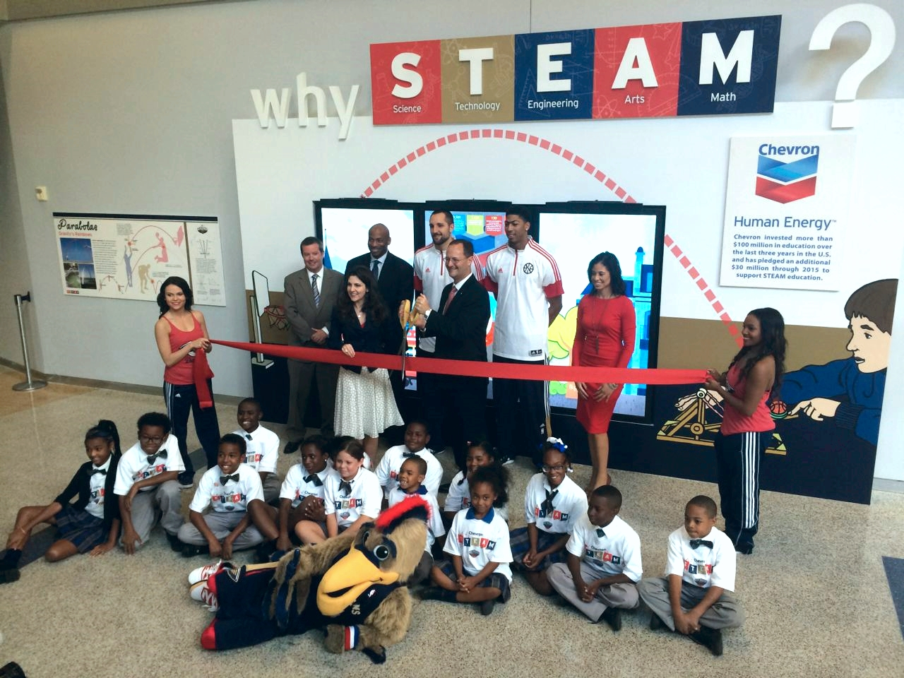 STEAM exhibit ribbon cutting