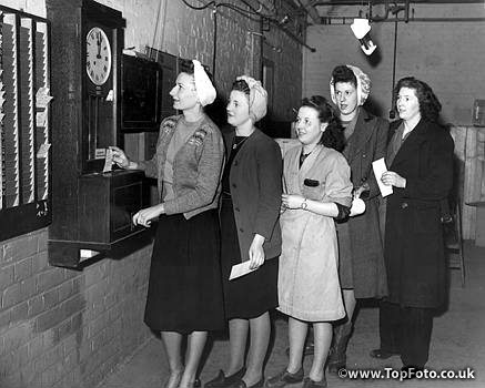 Female lamp workers clocking on at the Duralite factory in  Spennymoor, Durham, England.   ©2000 Credit:Topham Picturepoint   0100561  - 4 March 1949