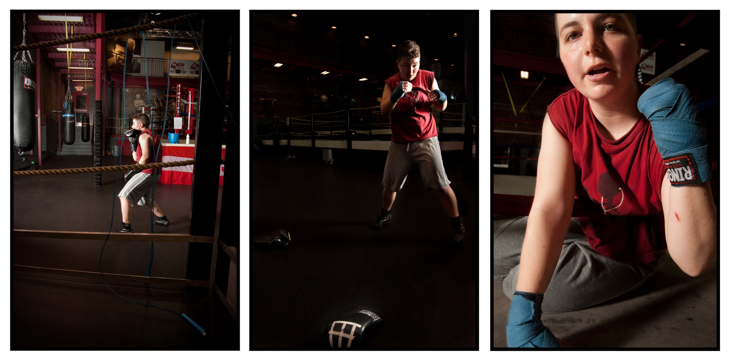 """I began going boxing with the intention of staying in shape during the rugby off season. Soon, however, boxing evolved into something much more important to me. As a trans person who previously struggled with body dysphoria, I was often unsure of how to relate to my body in a positive way, and I sometimes even felt that my body was useless. Boxing helped me combat those feelings.  I began to realize that there are positive things about my body, and that it can do great things. Instead of trying to force my body to emulate that of a non-trans person's, I was able to re-intepret it as a fighter's body. Boxing helped alleviate my primary dysphoria issues. A boxer's hands are very important - more so than their genitalia - and I was able to put value to my hands and my other, non-sexual body parts."""