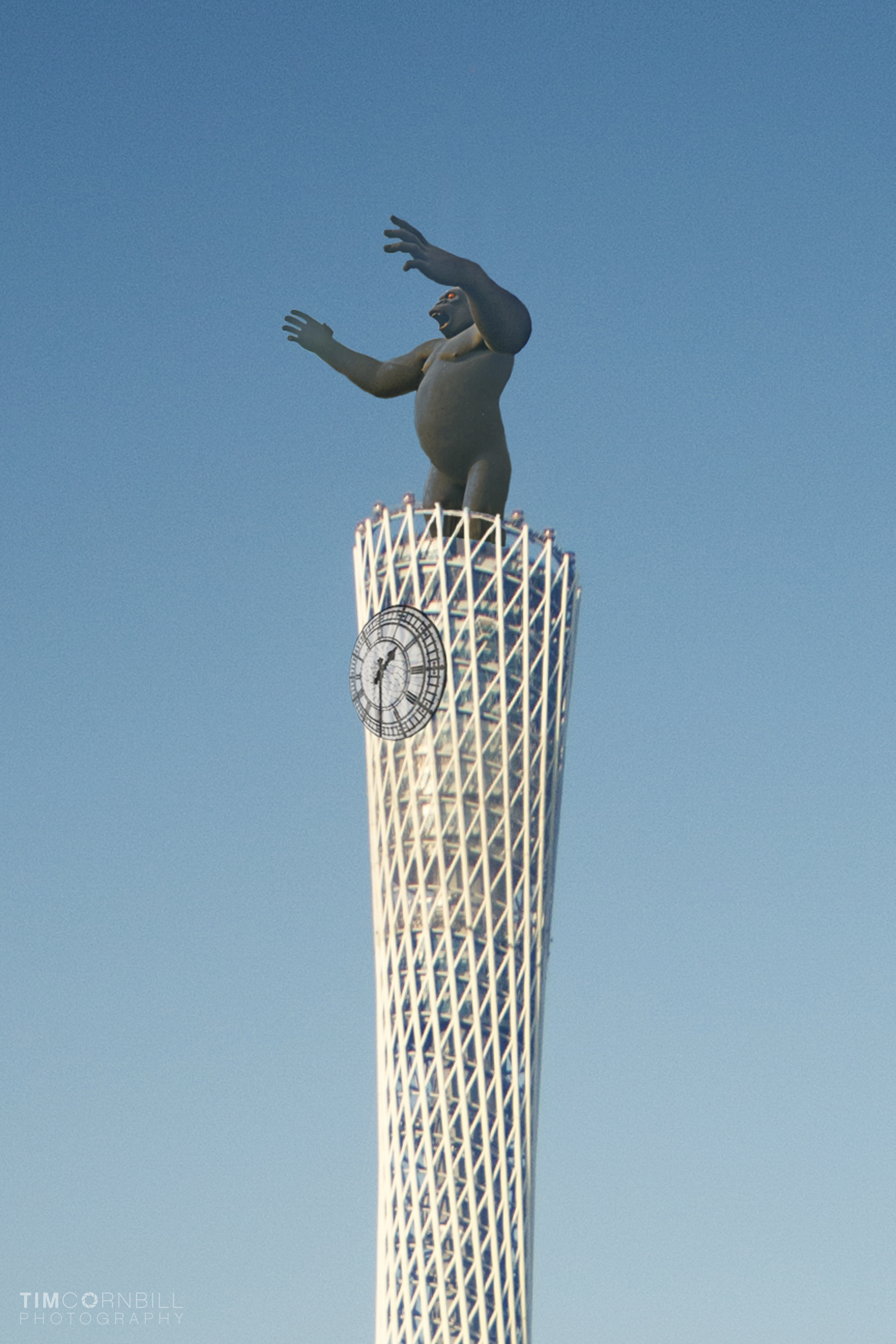 King Kong will rotate around the top of the clock tower