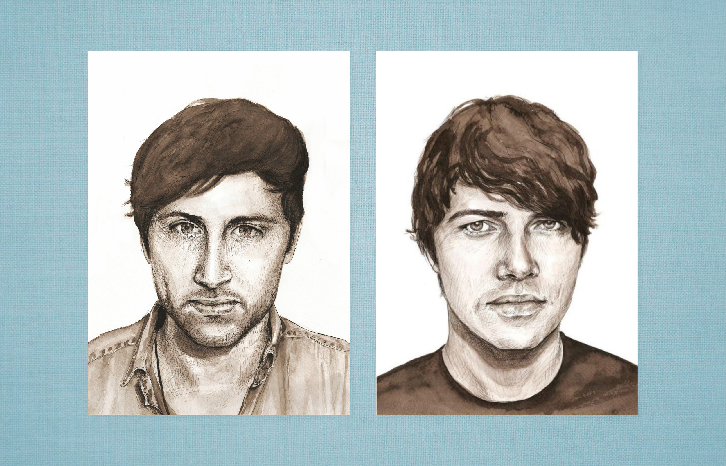 Pen & Ink band portraits for  Small Black 's album 'Limits of Desire'. Watch the official album trailer showing an animation of the painting process  below.