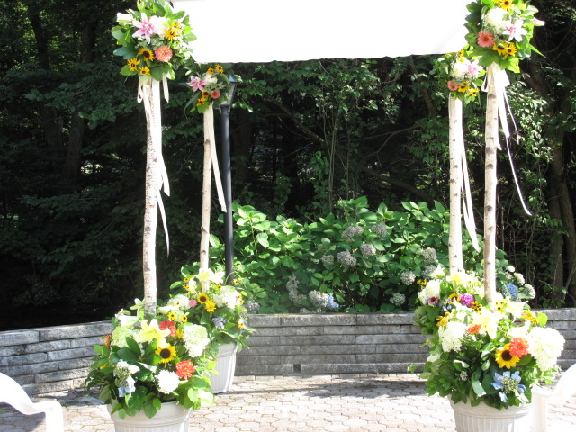 Our spectacular birch chuppah adorned in summer blooms and awaiting the bride and groom.