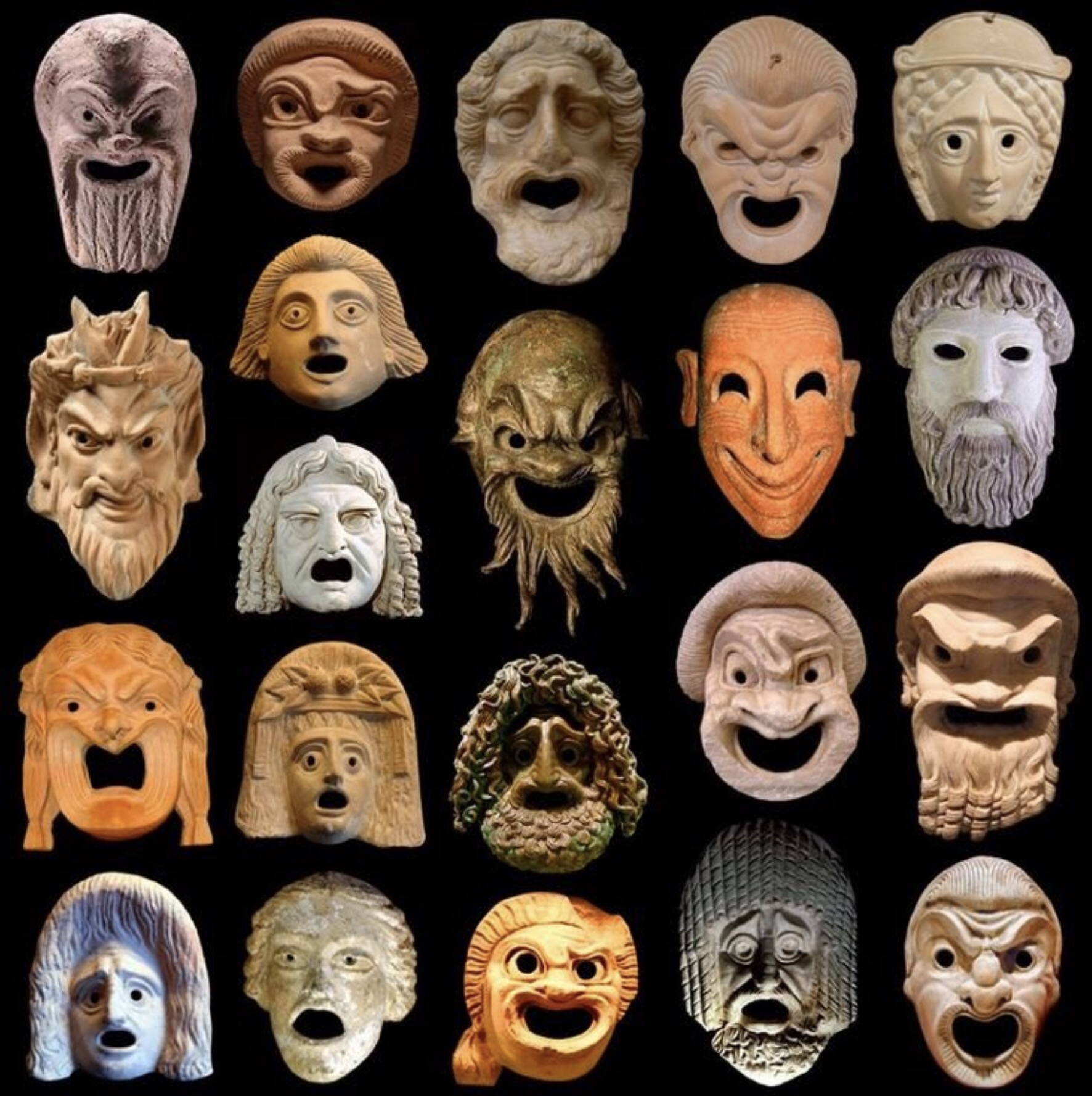 Onkos Greek Theatre Masks. The originals were made of linen, these are stone representations.