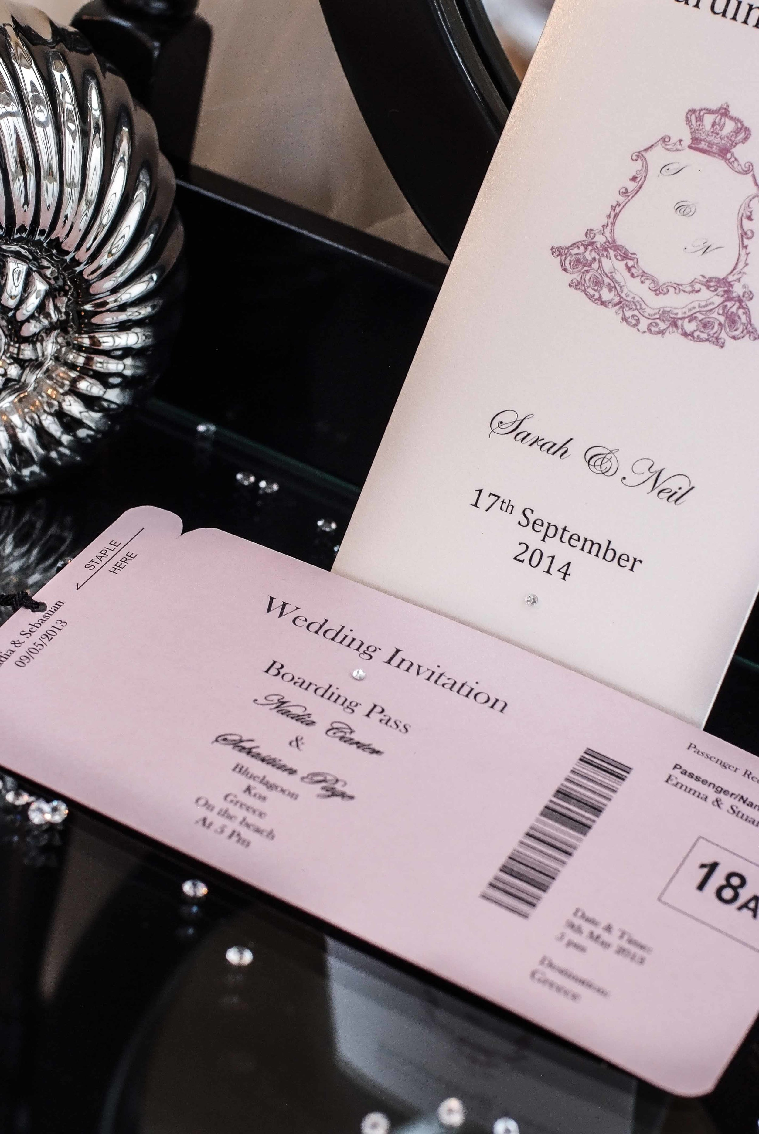 Just one of the beautiful wedding invitation and stationery ranges available at VivienB's of Oxford, Oxfordshire. The VivienB's First Class Boarding Collection.   Next Collection: The Audrey
