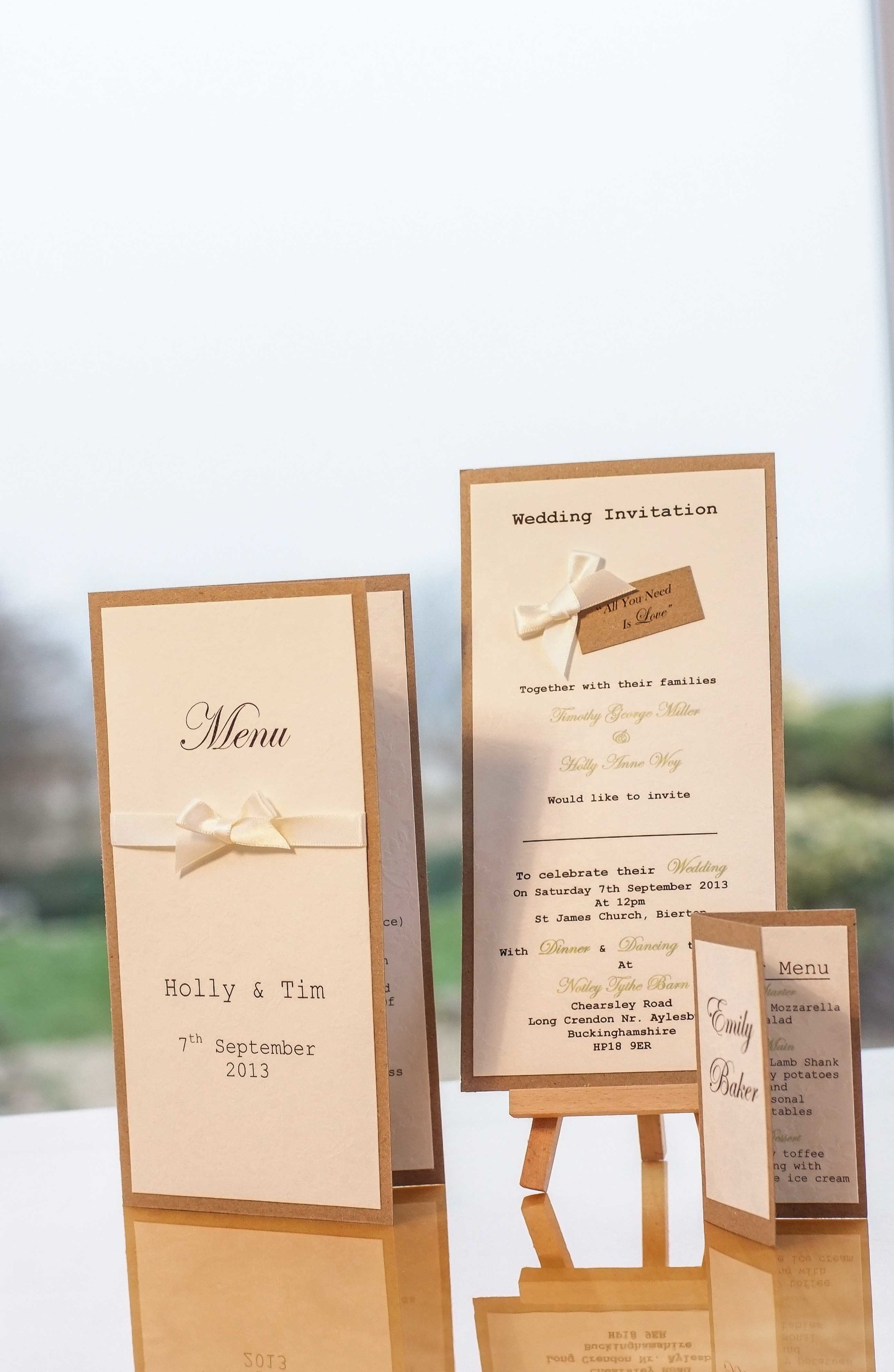 Just one of the beautiful wedding invitation and stationery ranges available at VivienB's of Oxford, Oxfordshire. The All You Need Is Love Collection from VivienB's.    Next Collection:  Luxury Pearla
