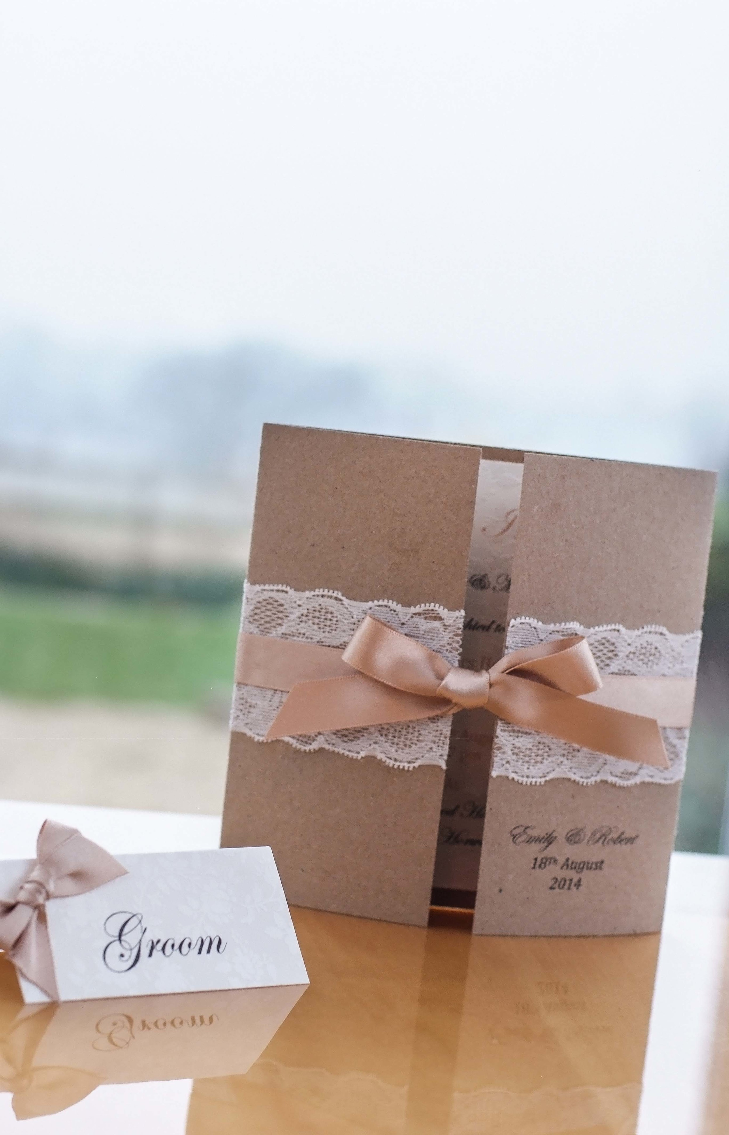 Country Heritage Lace  Luxury Wedding Stationery Collection, available from VivienB's in Oxfordshire, Buckinghamshire and the UK