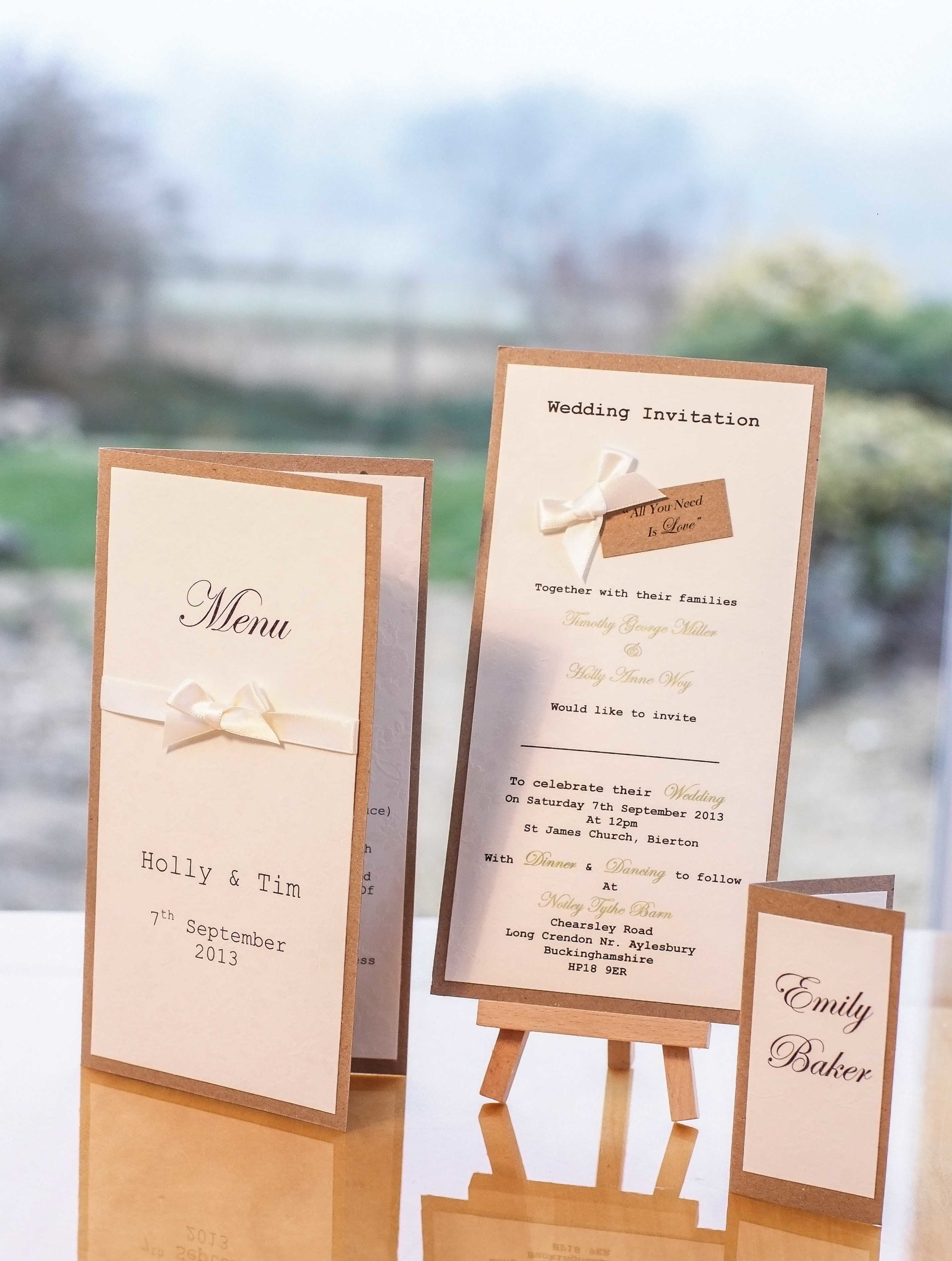 All you need is love wedding invitation created in Oxfordshire for Holly and Tim