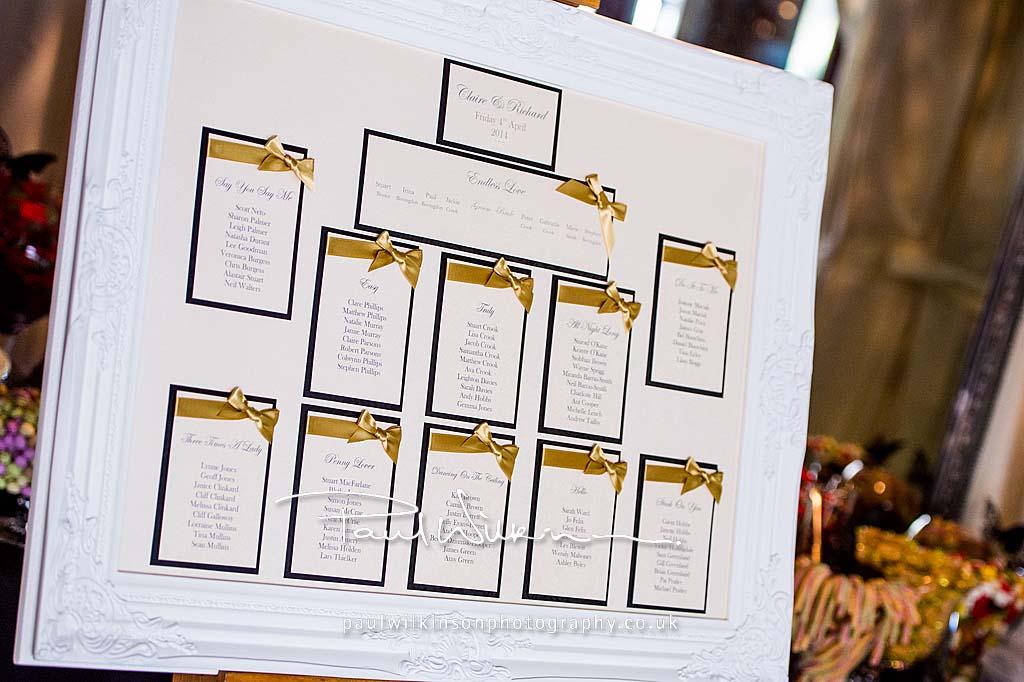 Gold, Black and Cream Wedding Table Plan