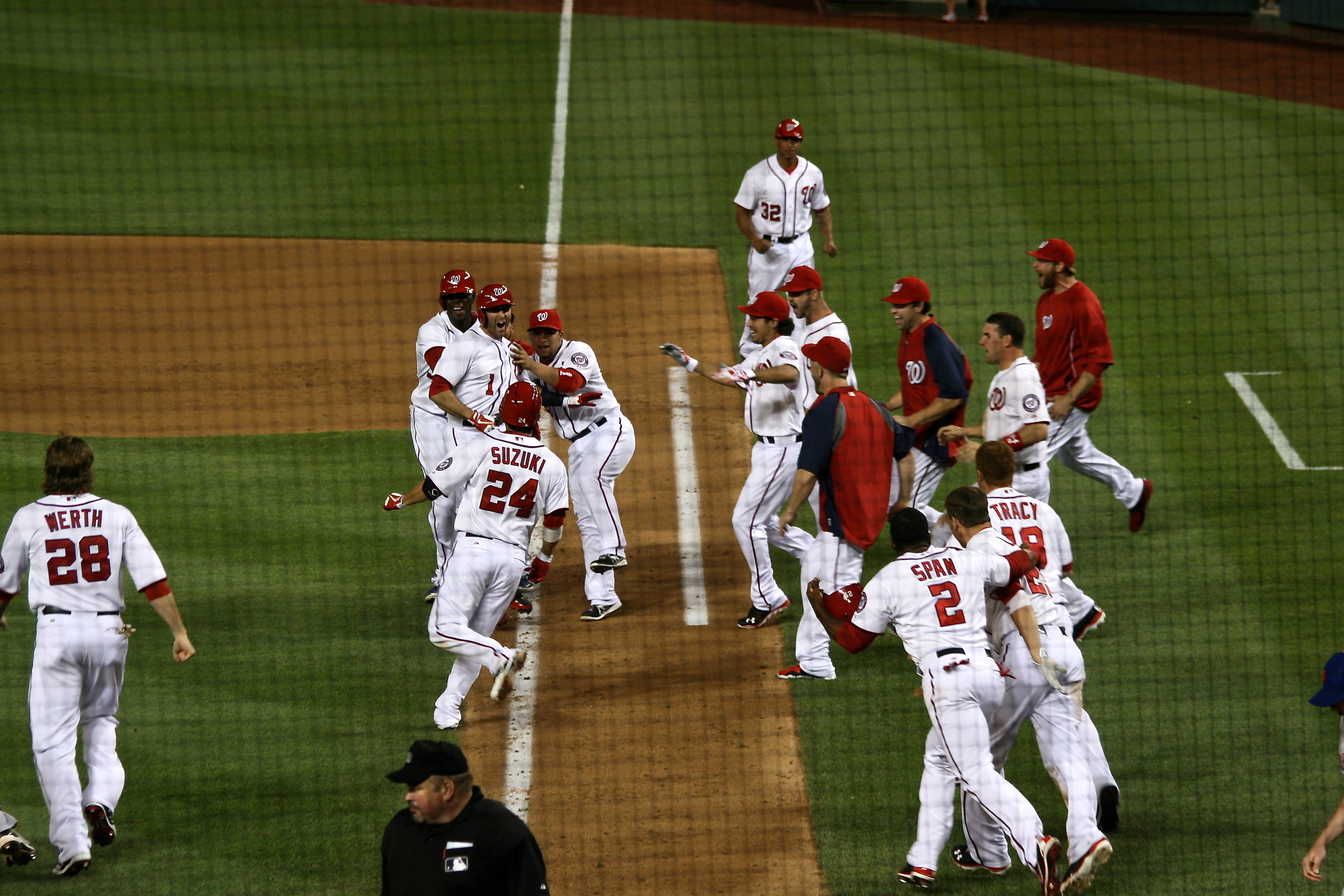 Lombardozzi gets mobbed after his game winning sac fly