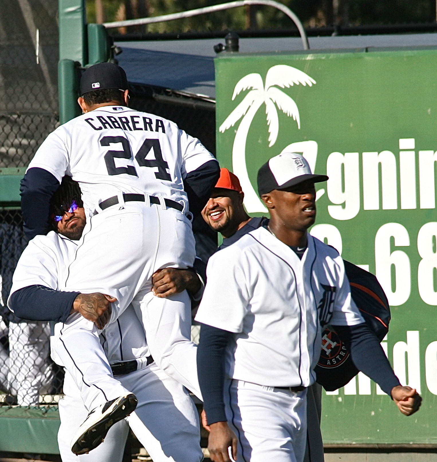 Prince Fielder picking up Miguel Cabrera