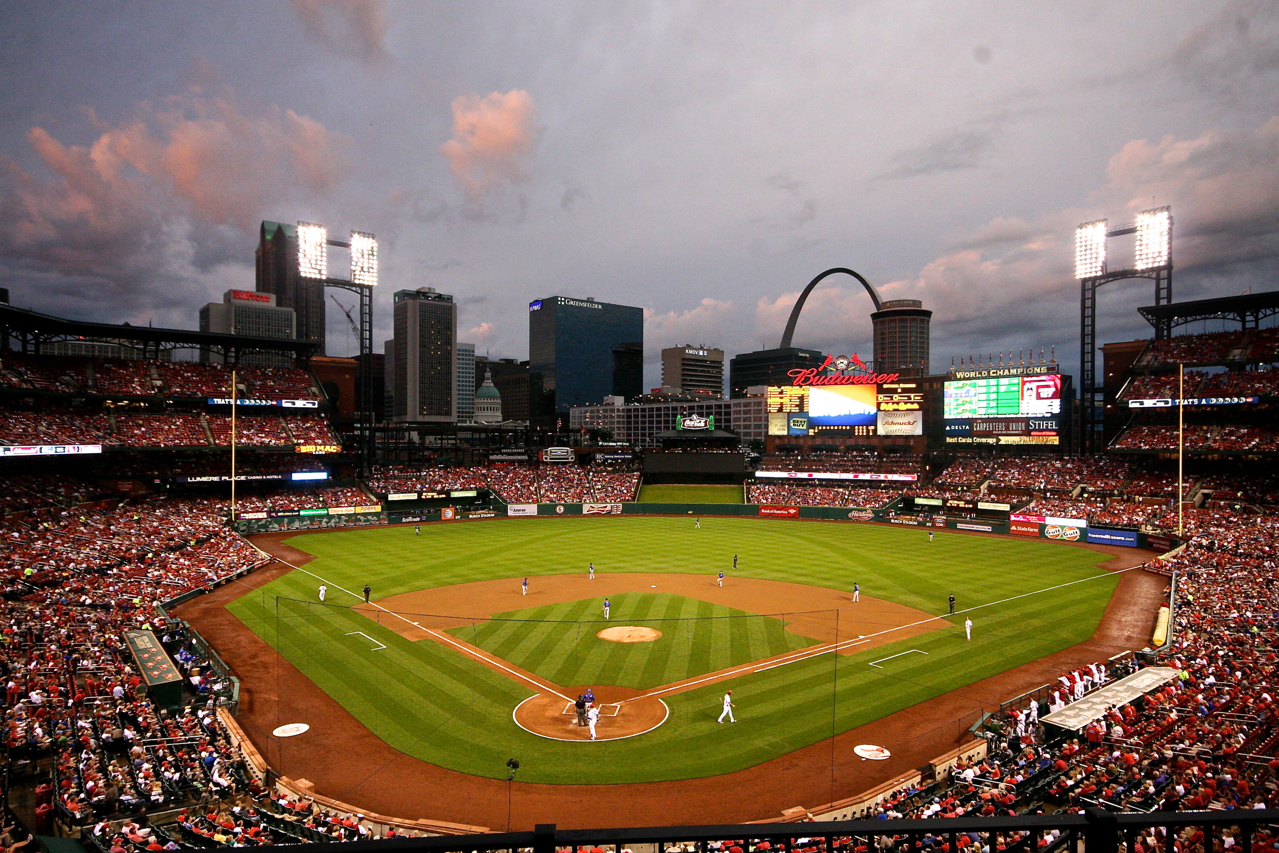 Busch Stadium in the twilight