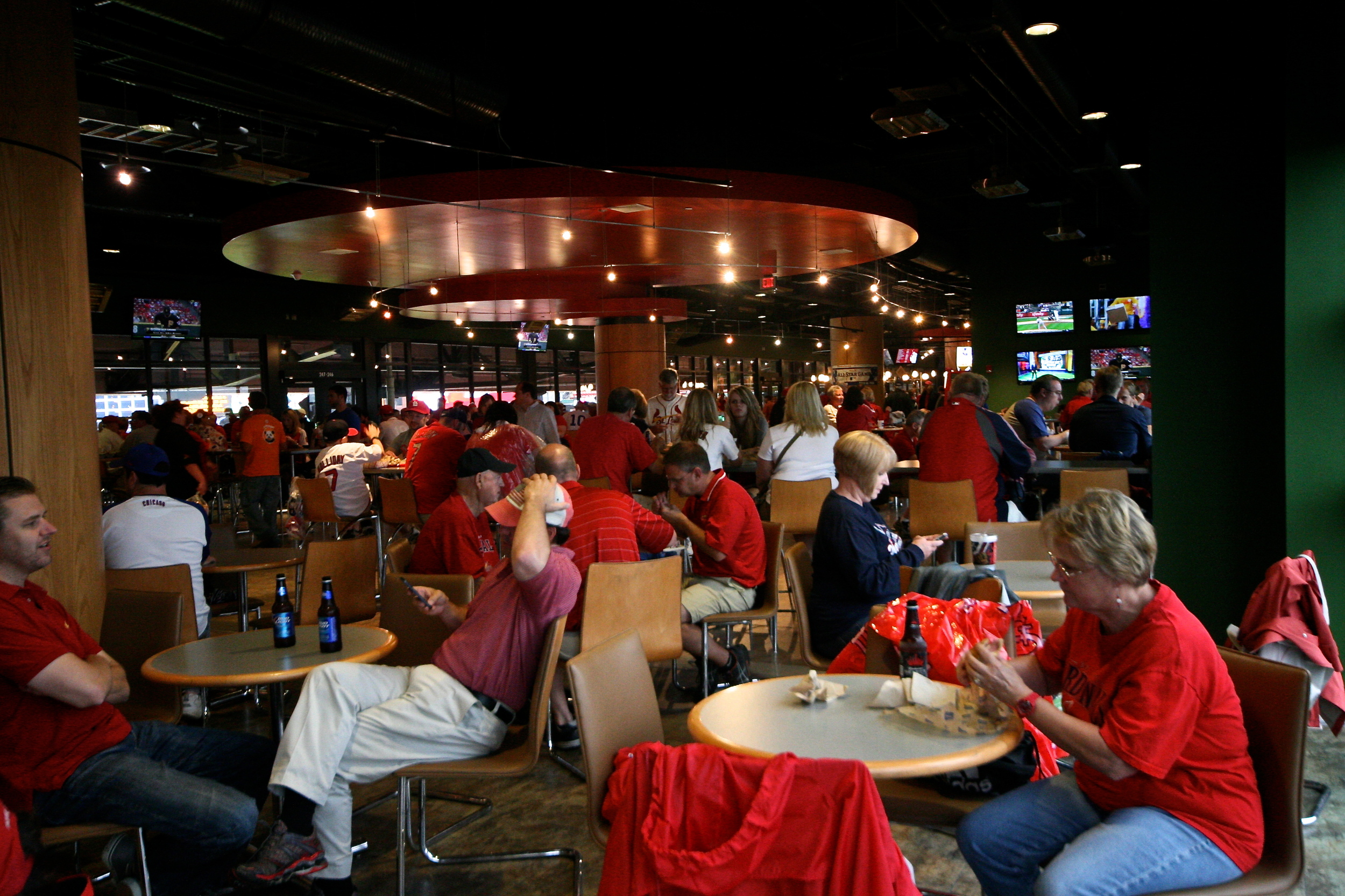 Waiting out the rain delay in the RedBird Club