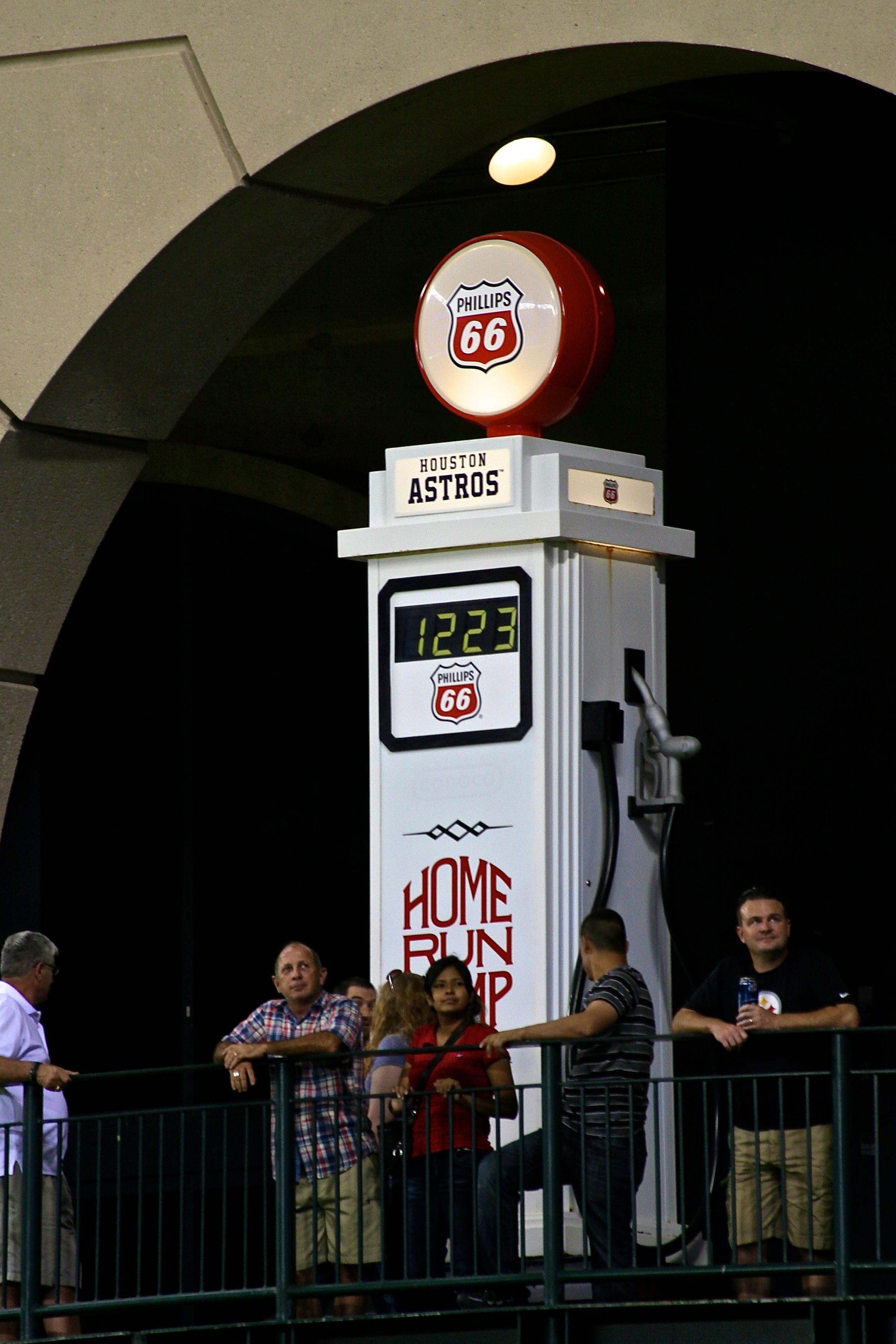Gas pump in center