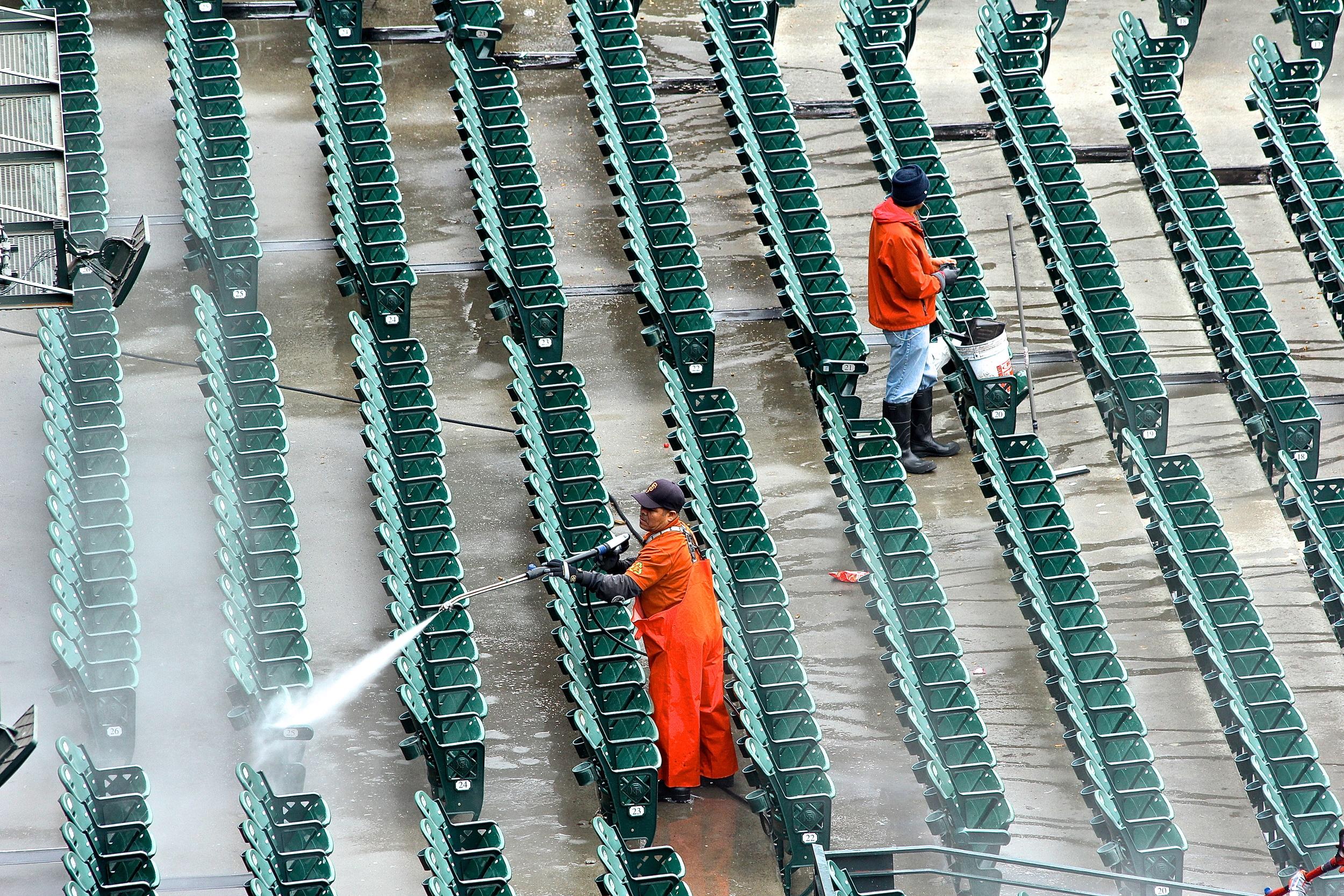 Power washing the stadium