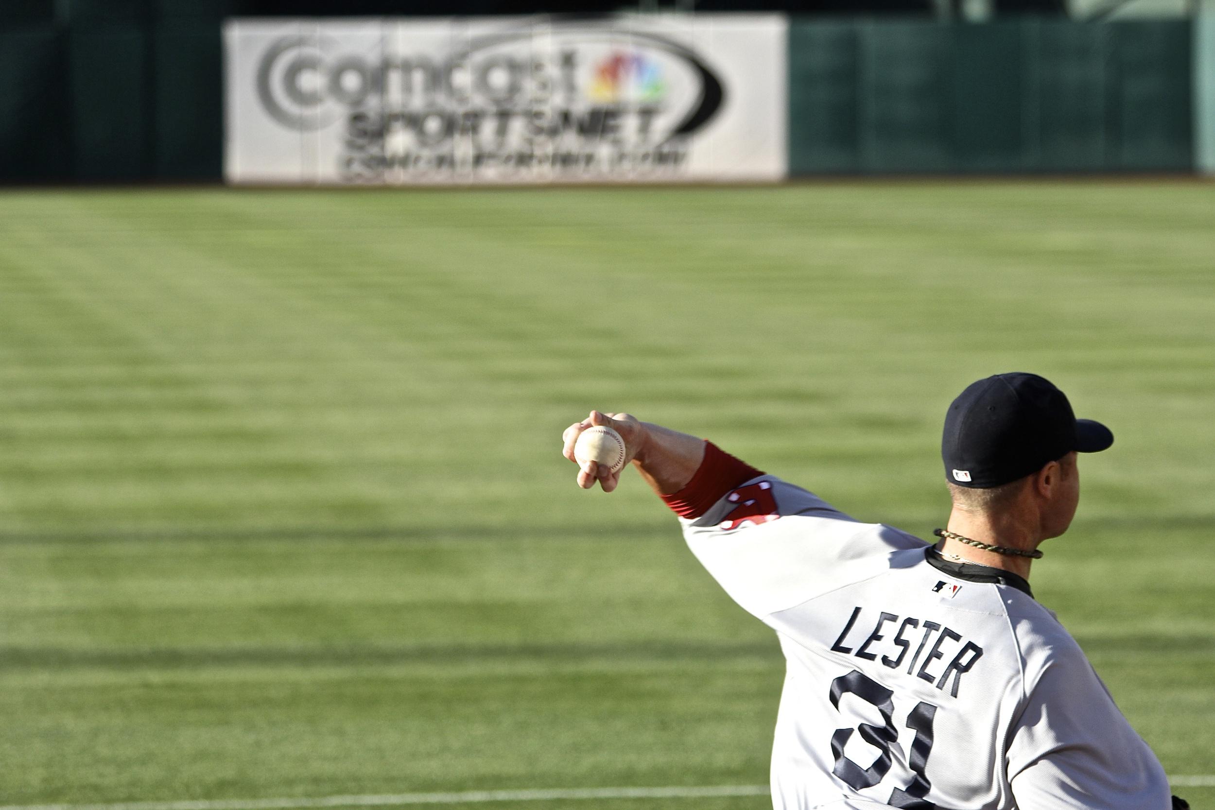 Lester's bullpen warmup