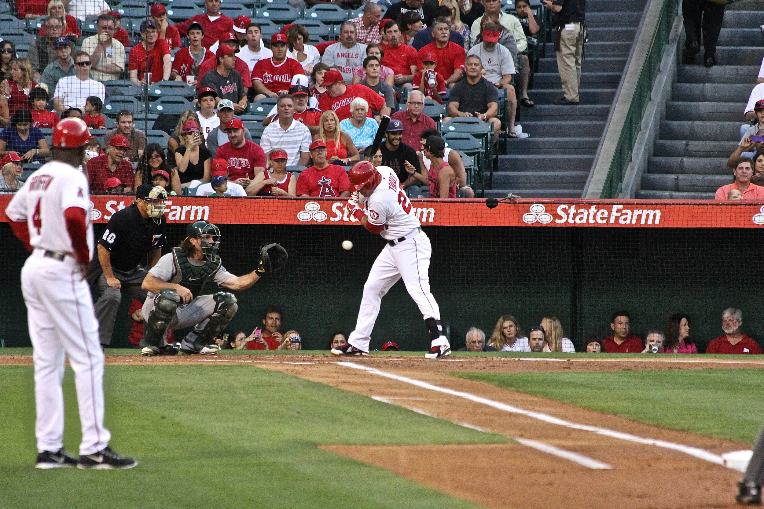 Inside pitch on Mike Trout