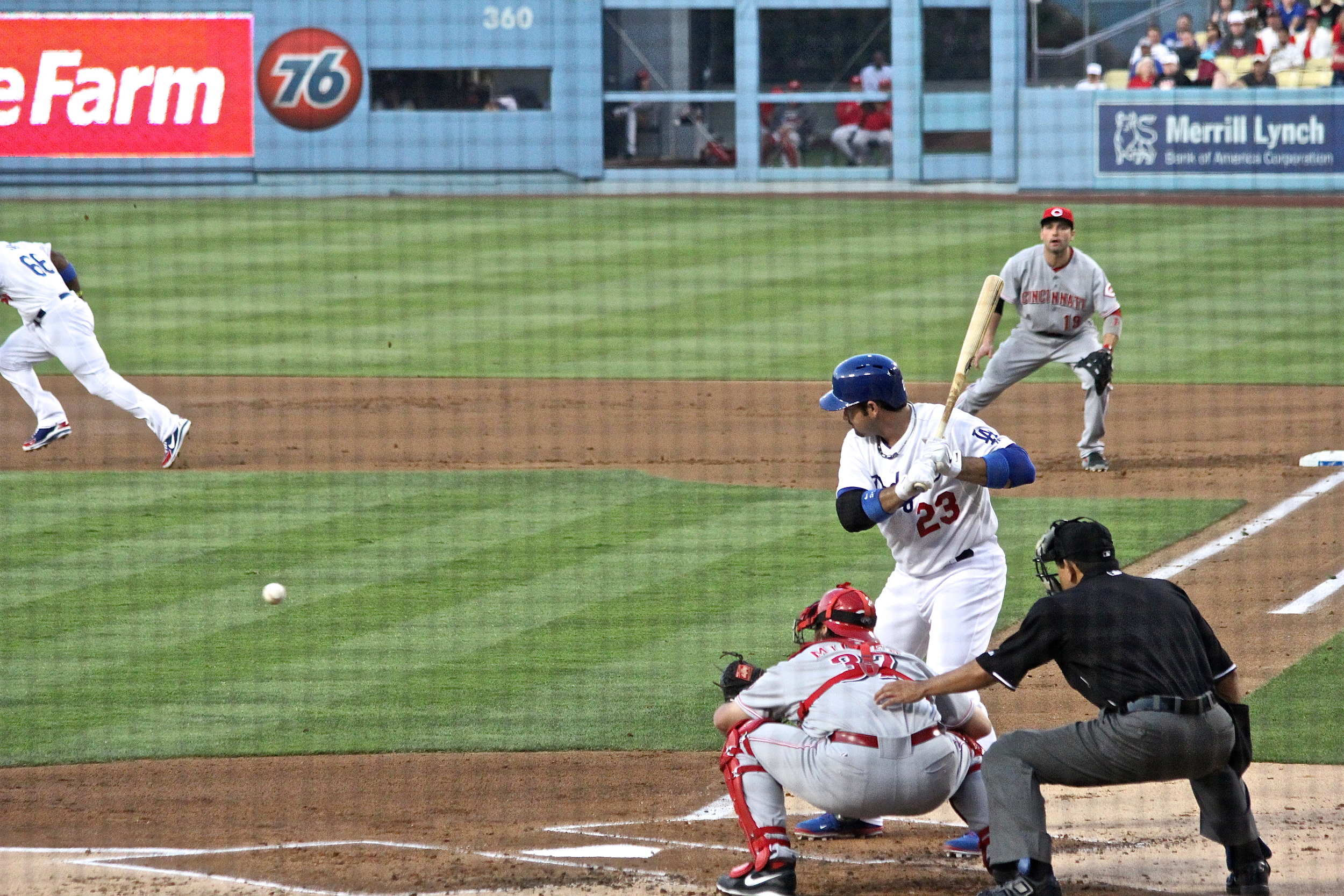Puig takes off during Adrian Gonzalez at bat