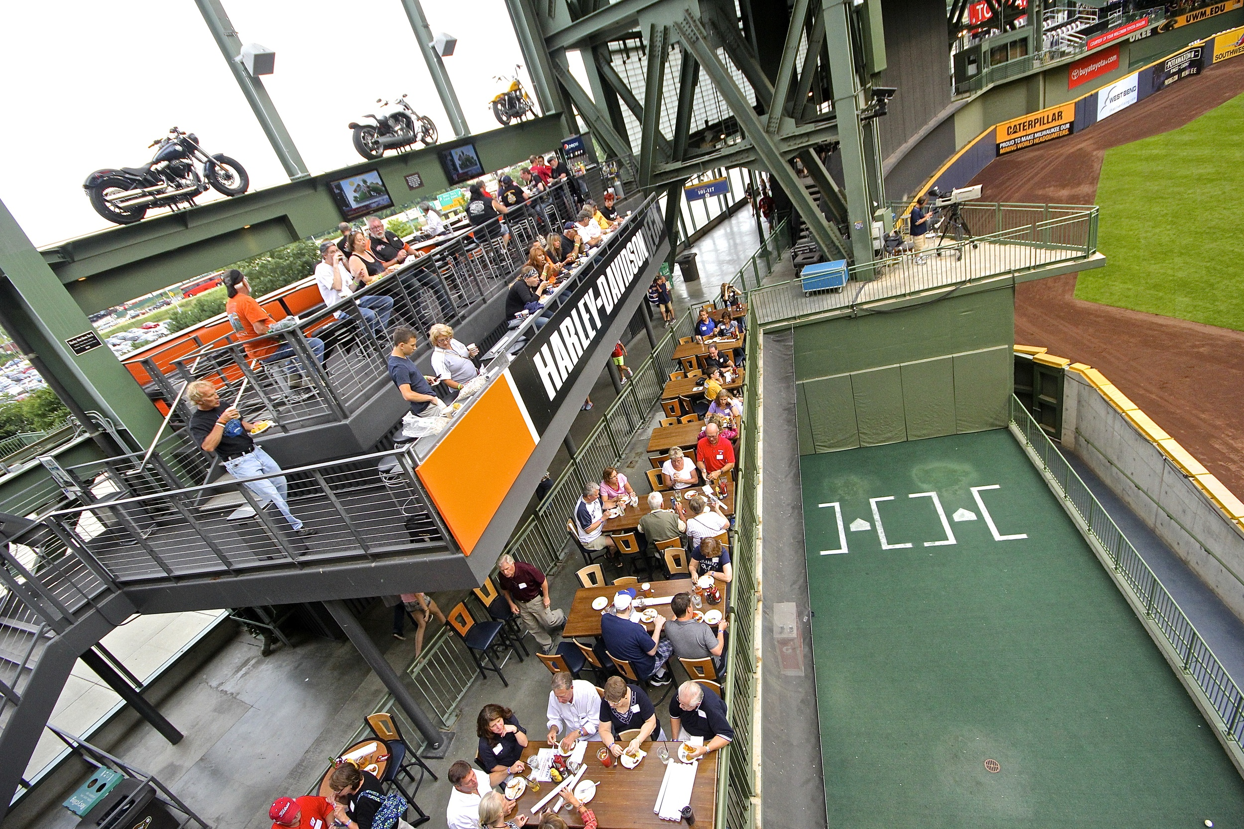 View of the bullpen from Harley Davidson porch
