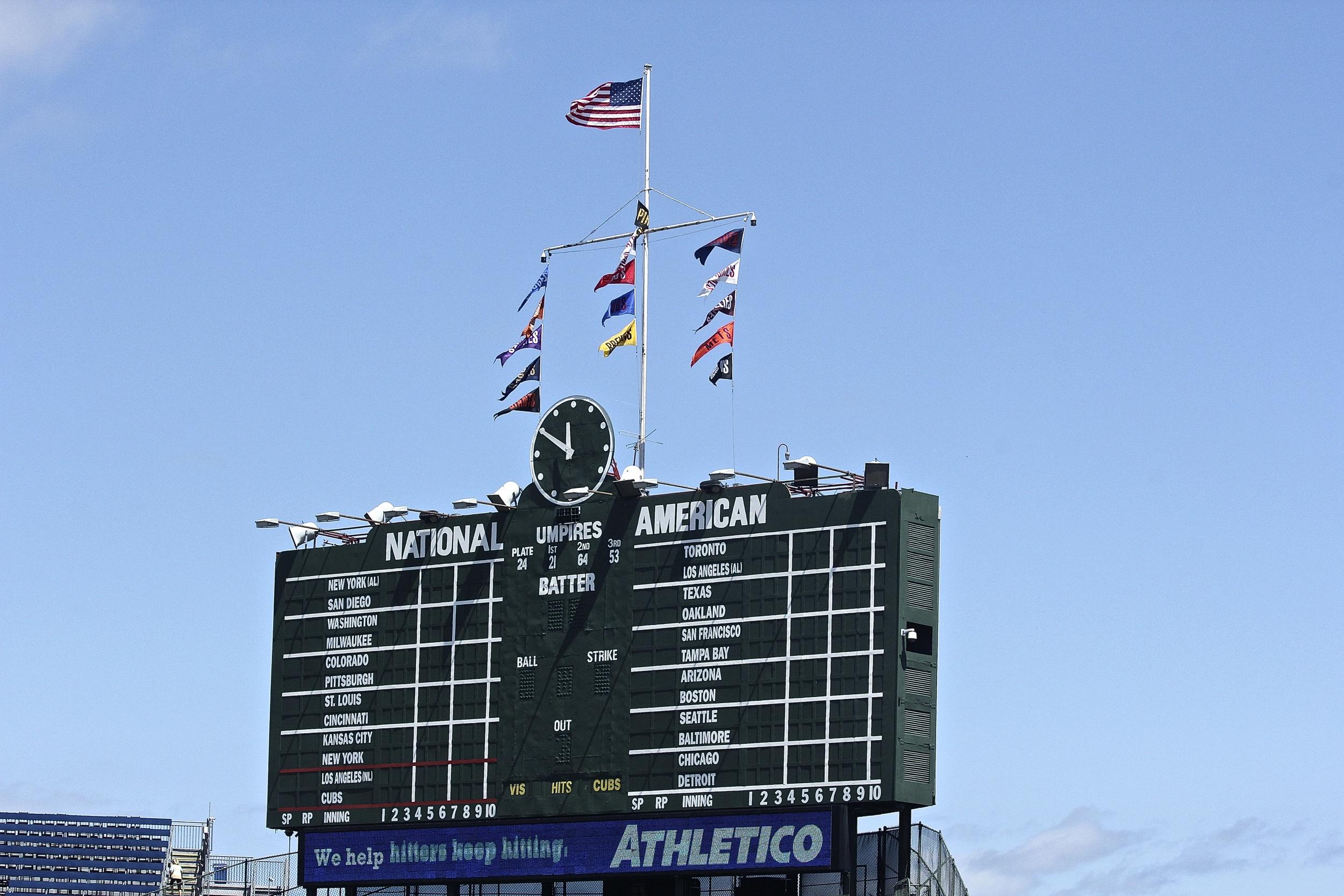 Scoreboard in center