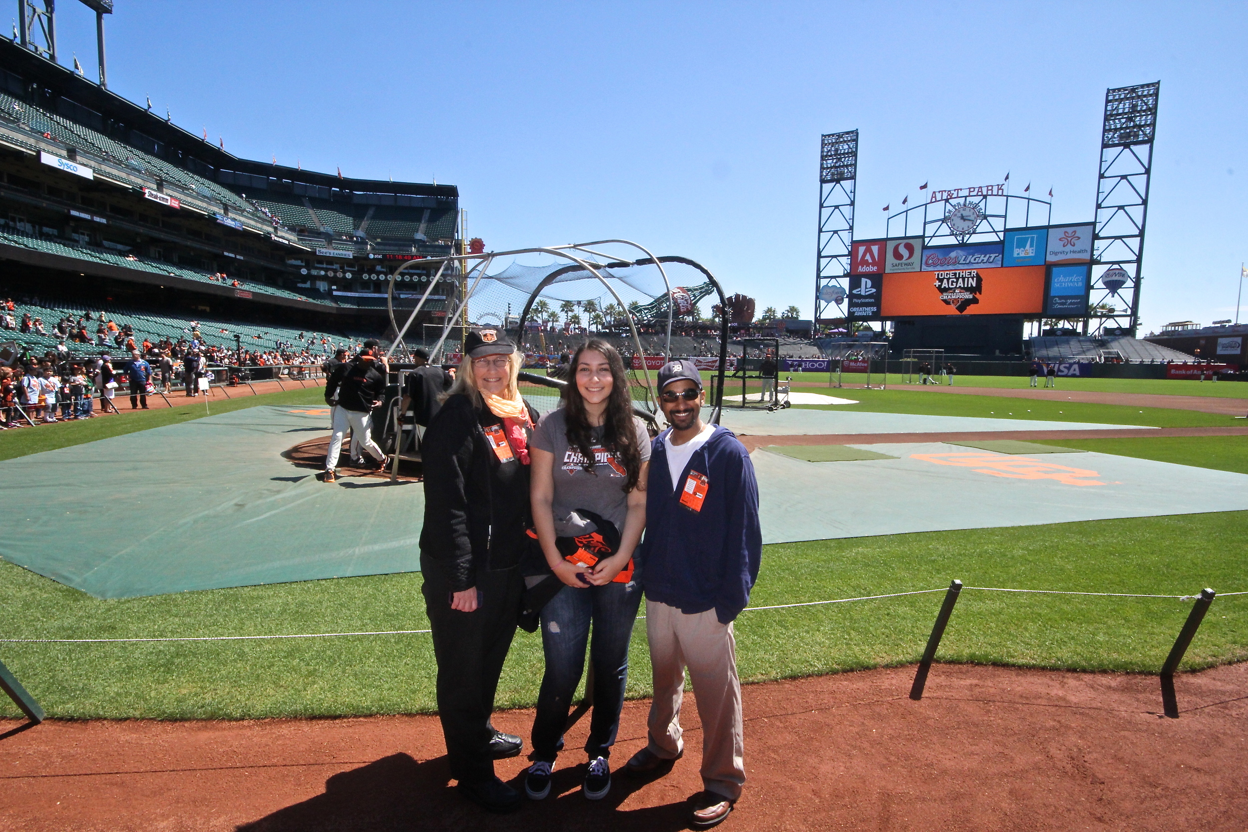 Barbara, Adela and me on the field at AT&T