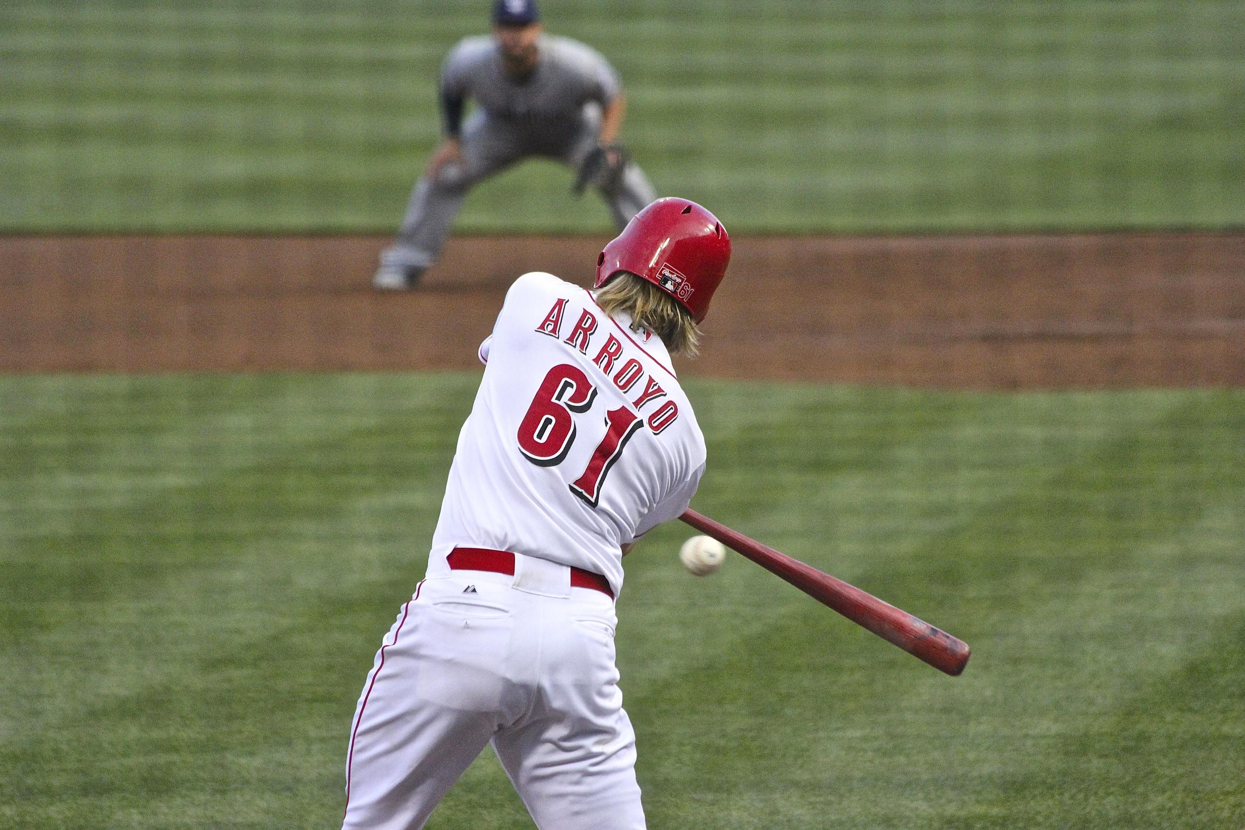 Bronson Arroyo with the bat