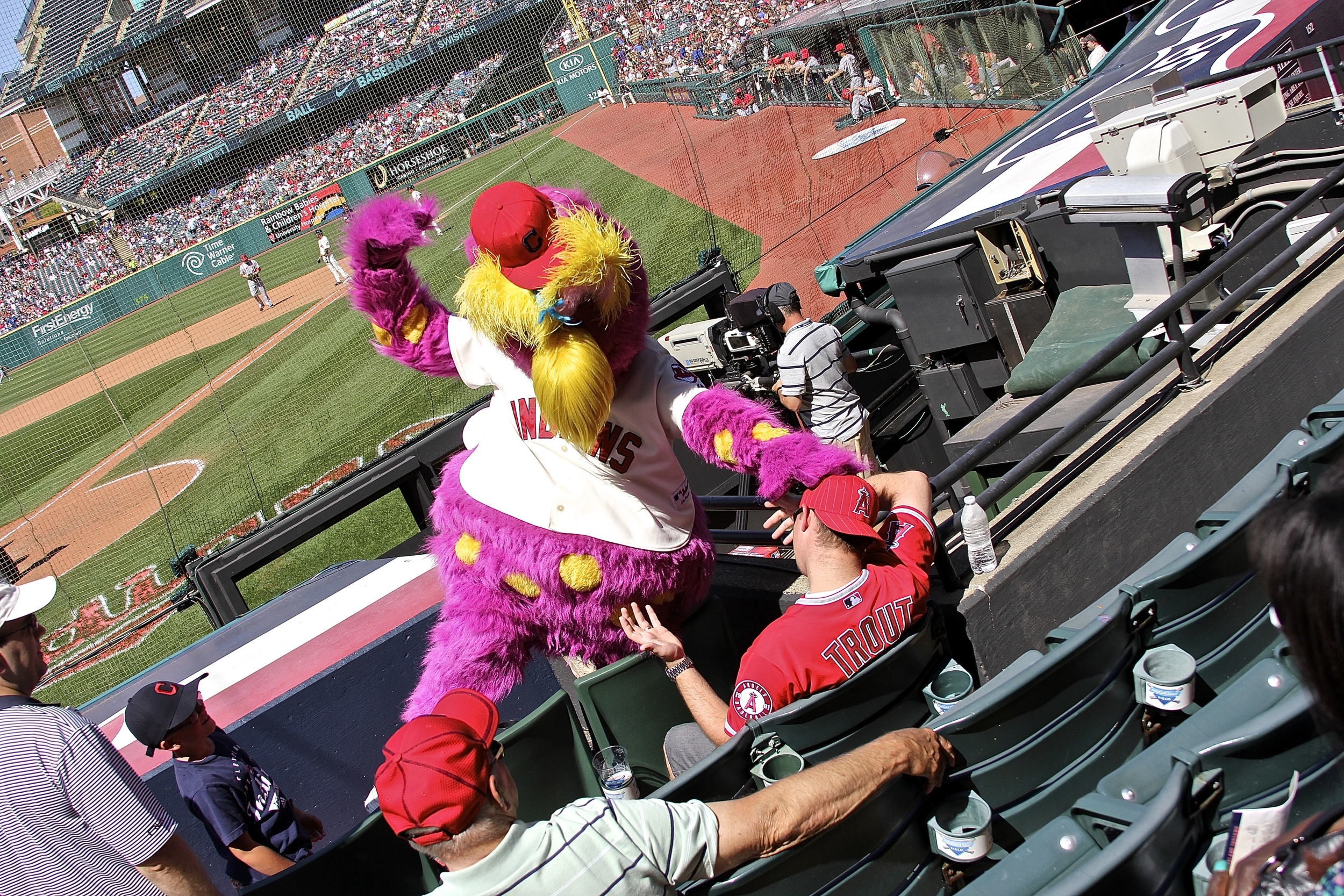 Slider having some fun with A's fan
