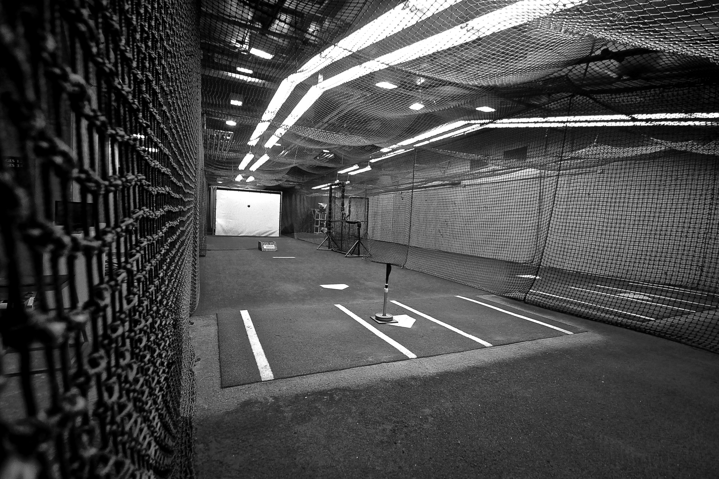 Batting Cages in black and white