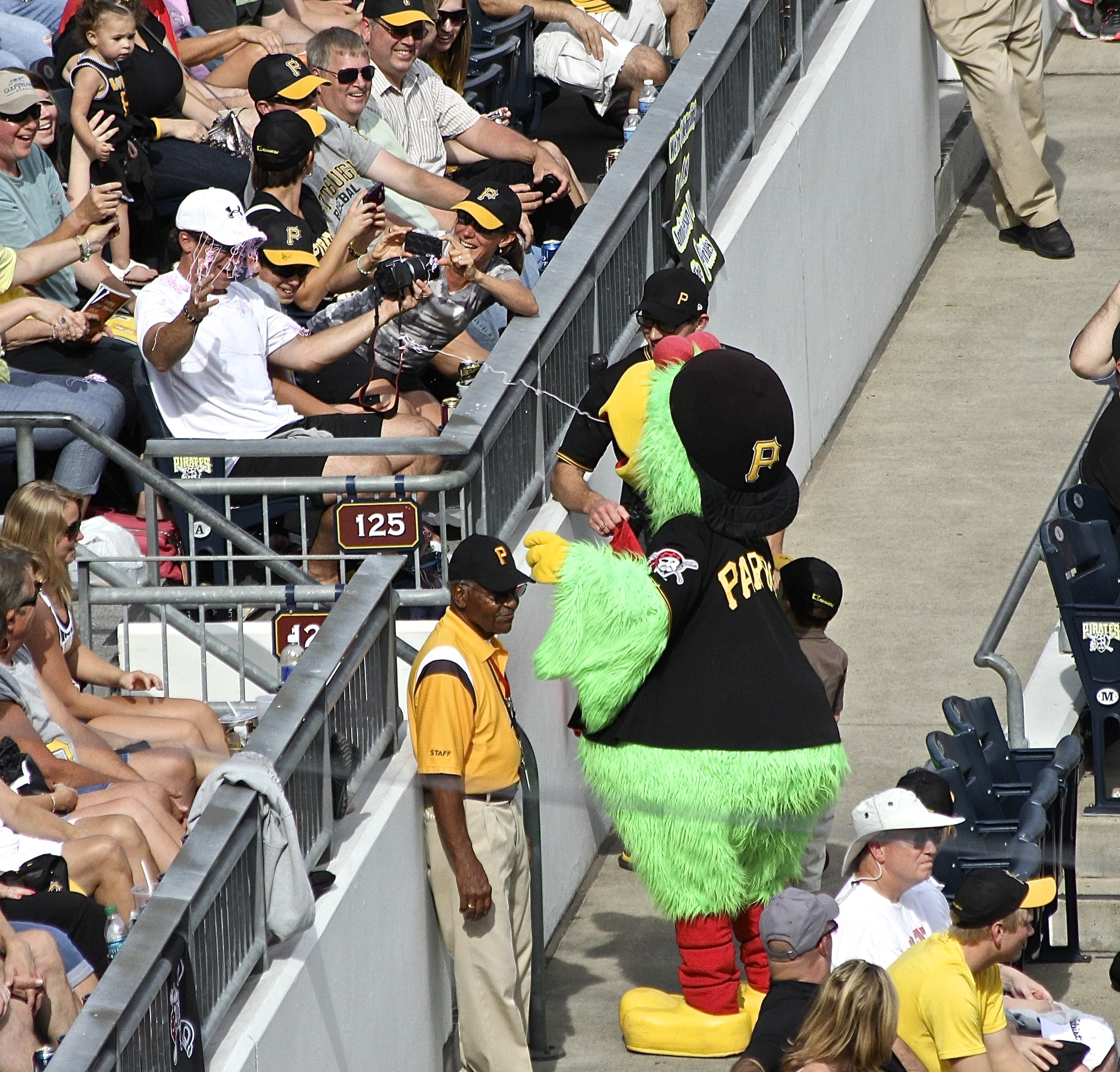 Pirate Parrot spraying some silly string