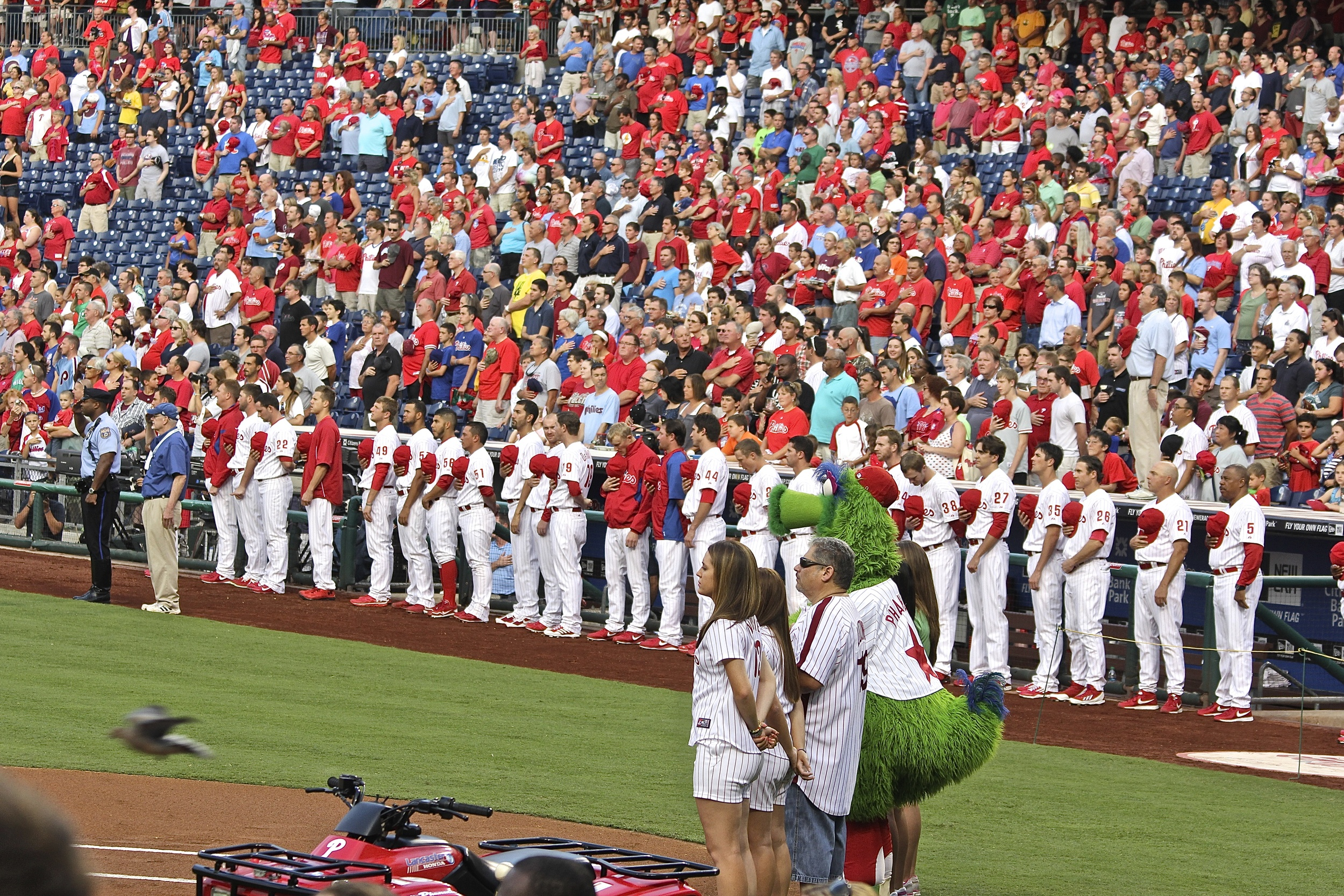 Phillies stand for National Anthem