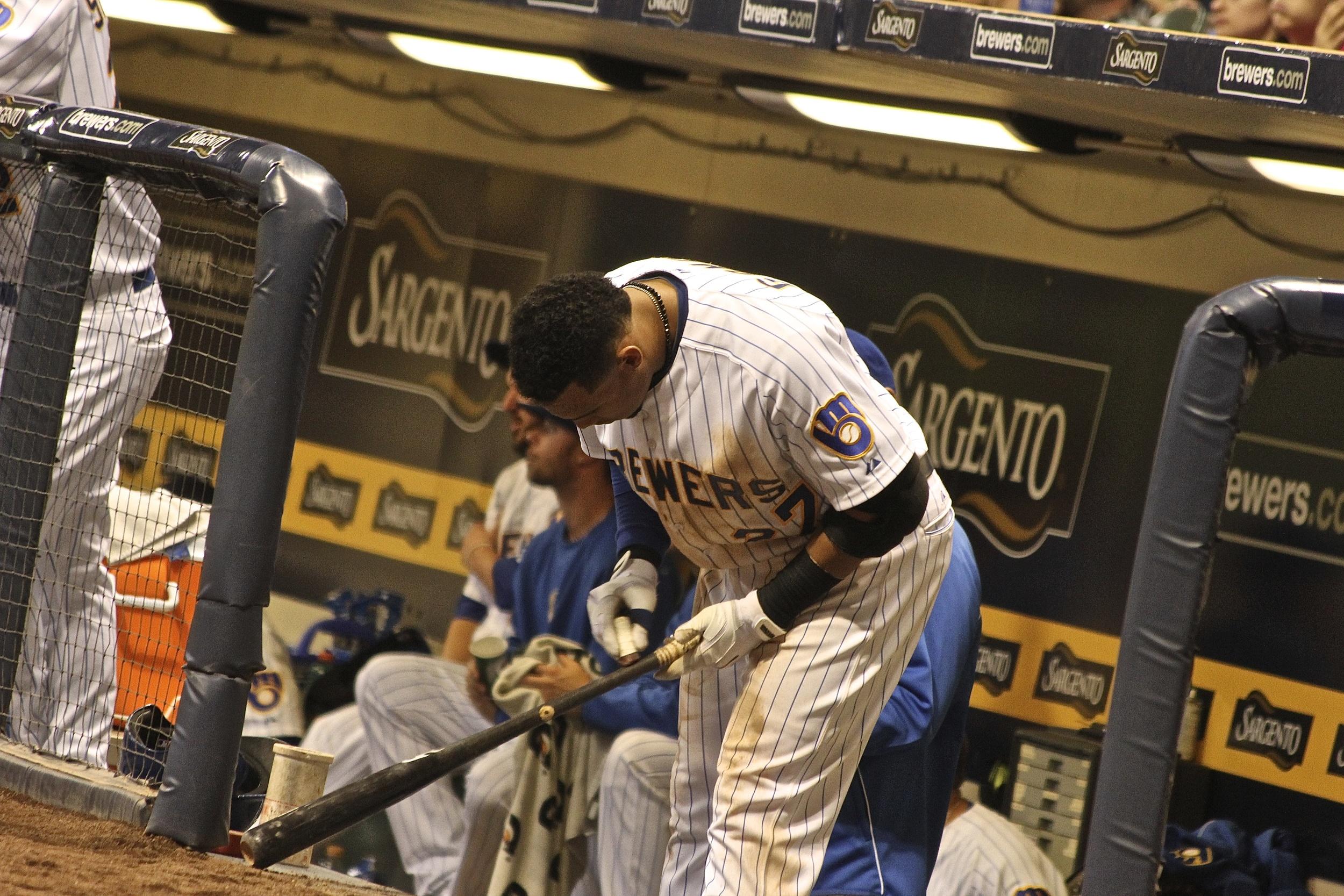 Carlos Gomez preparing his bat