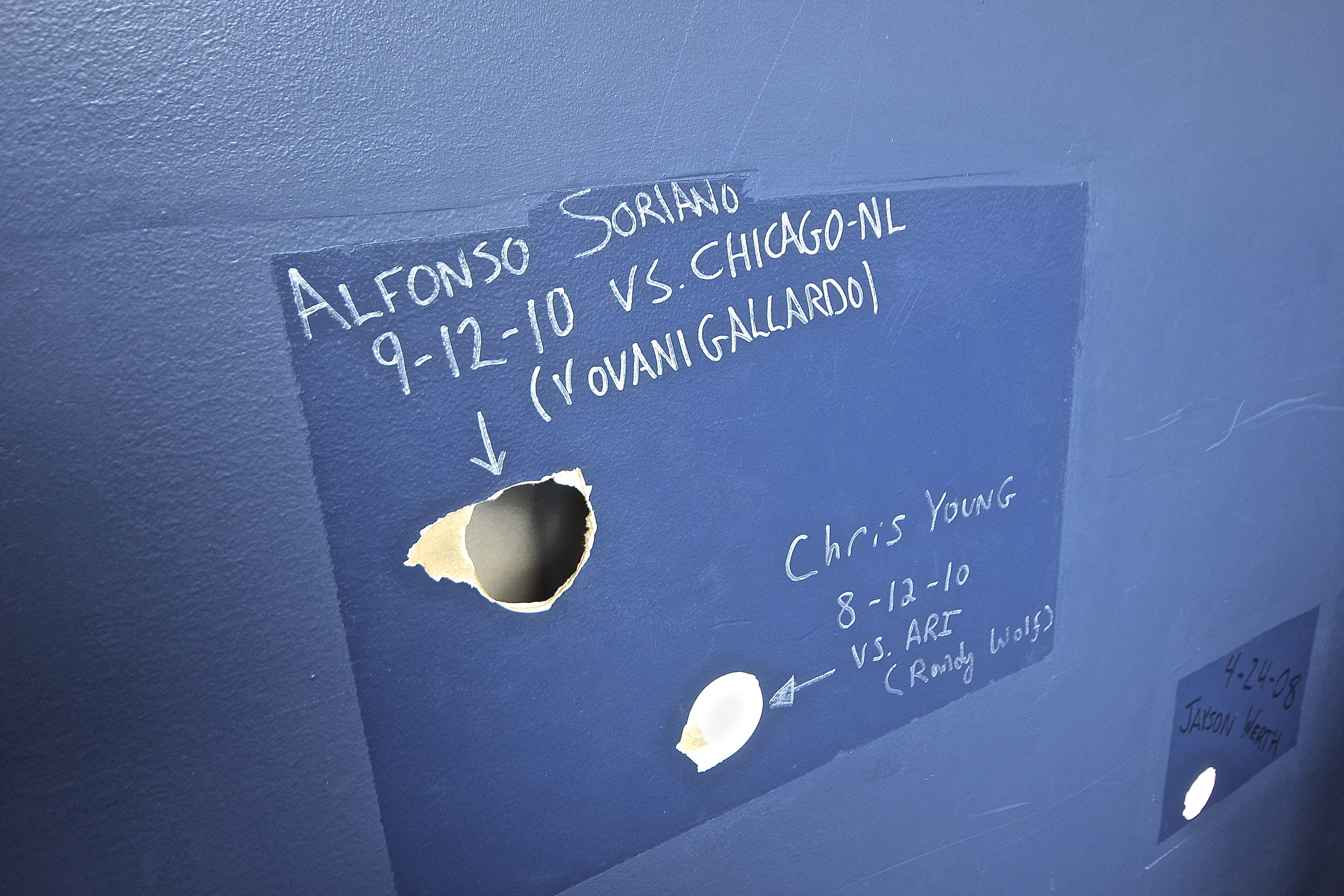 Foul ball holes in press box