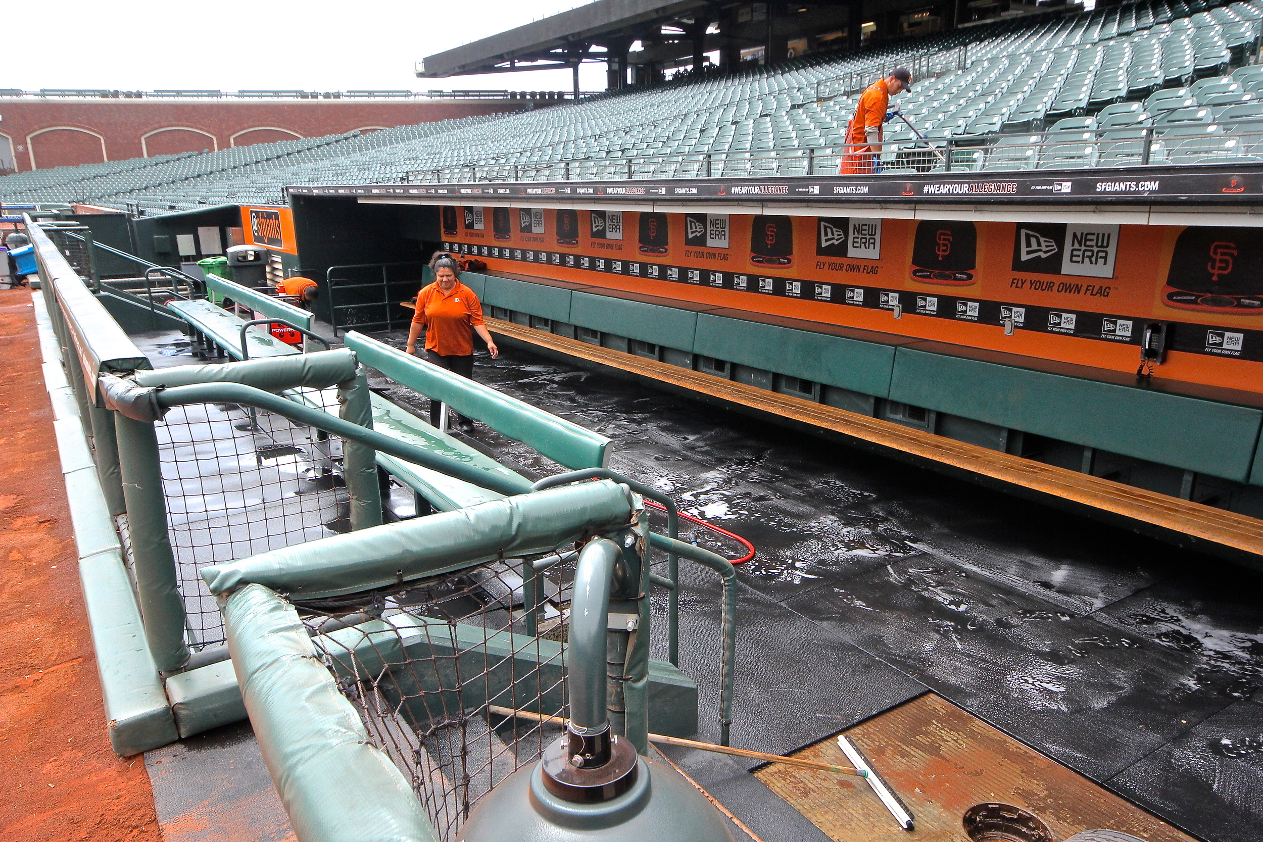 Cleaning the dugout